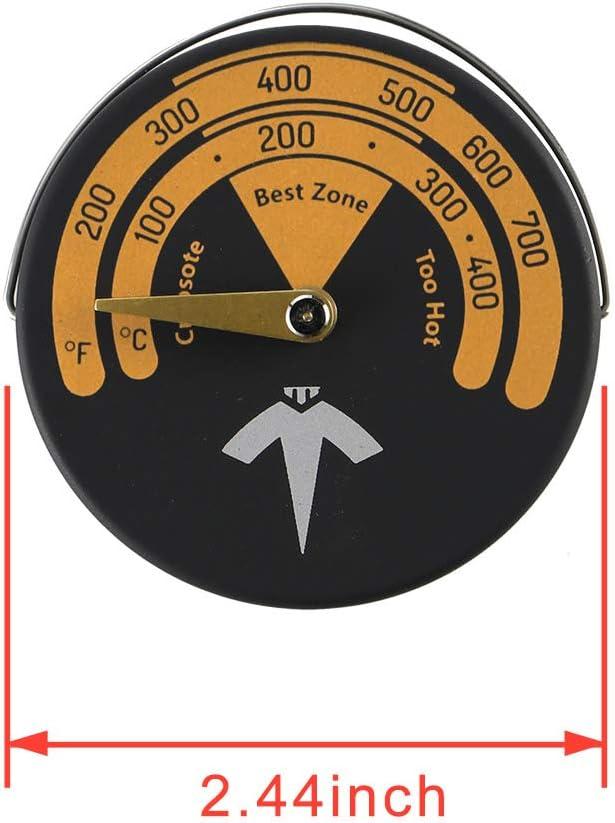 ECZO - Termómetro magnético para estufa y horno, medidor de temperatura para estufa de leña, estufas de gas, pelleta de balsa y tovepipe – Evita que el ventilador de estufa se dañe