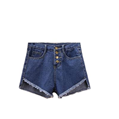 Abetteric Women Summer Sexy Fringed Cut-Out Unbalanced Summer Shorts Jean Shorts Dark Blue XS