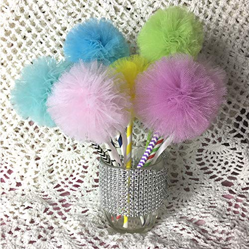 10 Pcs Set Tulle Pom Wands for Fairy Princess Party Favors Centerpiece Decorations