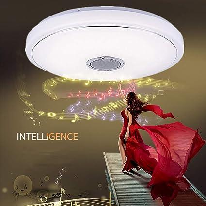 MIAOLEIE Plafón Luz Lámpara de Techo de Música con Altavoz Bluetooth (36W-85-265V) [Clase de eficiencia energética A+]: Amazon.es: Hogar