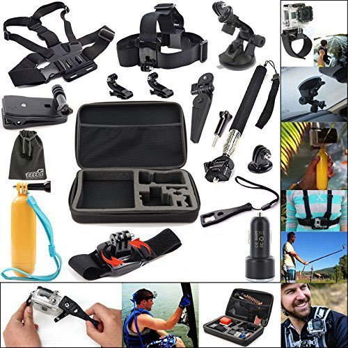 EEEKit 11in1 Travel Kit for GoPro HERO 5 4 3 2/Activeon CX Action Camera/AKASO EK7000, Carry Case/Chest Harness Mount/Suction Cup Mount/Selfie Stick/Folating Hand Grip