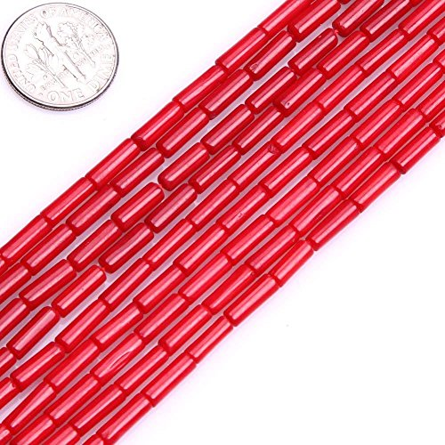 3x9mm Column Tube Red Coral Beads Loose Gemstone Beads for Jewelry Making Strand 15 Inch (44pcs)