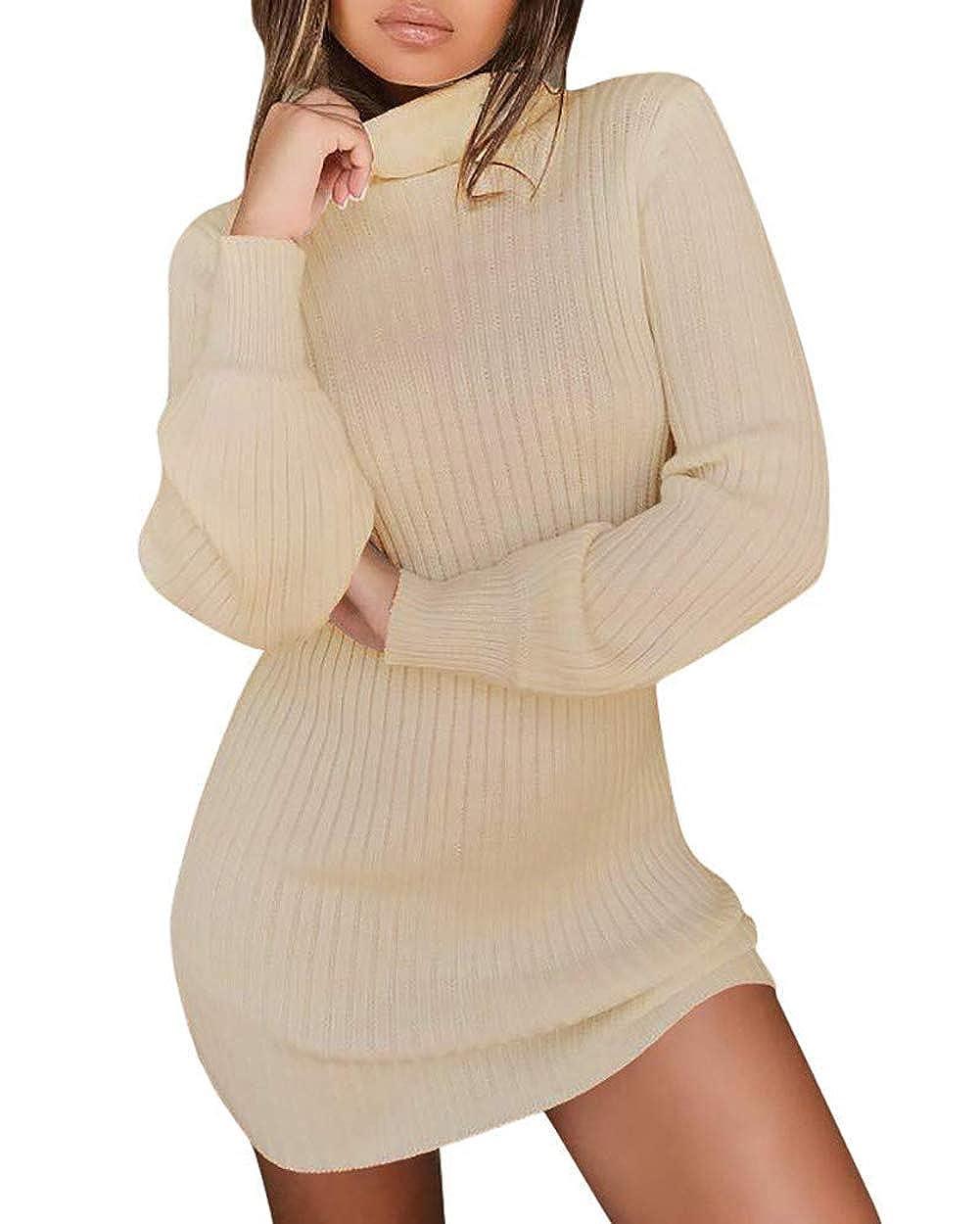 ASKSA Damen Pullover Kleid Casual Hoher Kragen Elastisch Langarm Winterkleid Einfarbig Rollkragen Jumper Minikleid Strickkleid