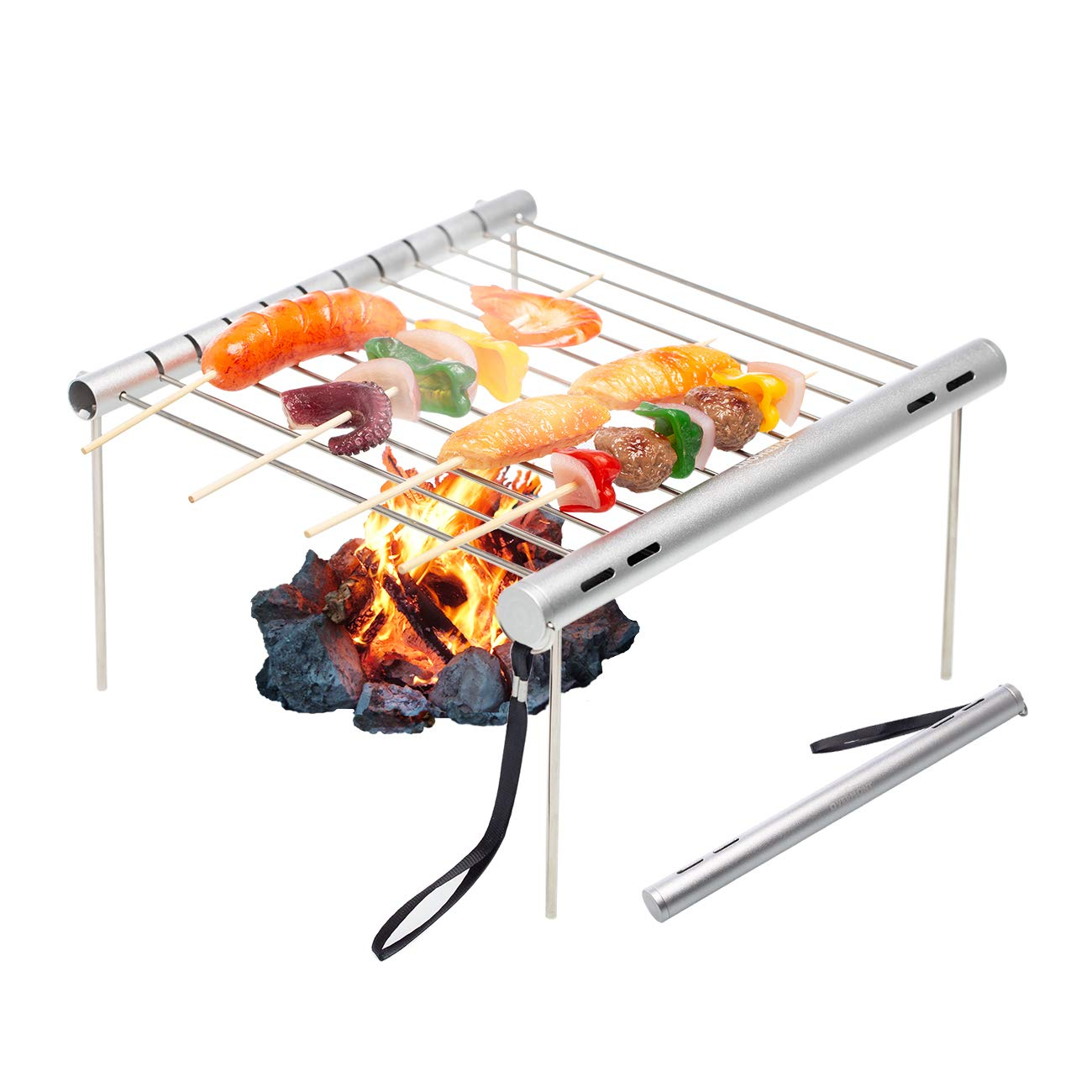 Overmont Barbecue Grill Portable Foldable BBQ Stand Charcoal Shelf Grate Galvanized Feet Home Camping