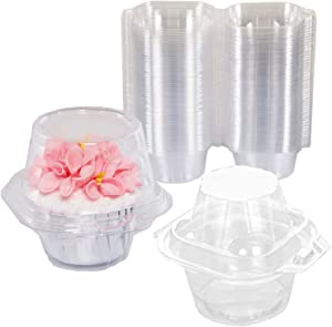 NPLUX Plastic Individual Cupcake Containers Single Cupcake Container for Birthday Party(50 Pack)