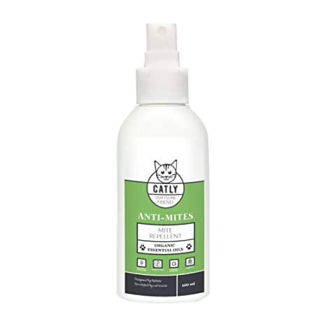 CATLY Repelente de ácaros Natural para Gatos antiácaros | 100 ml | sin DEET | orgánico
