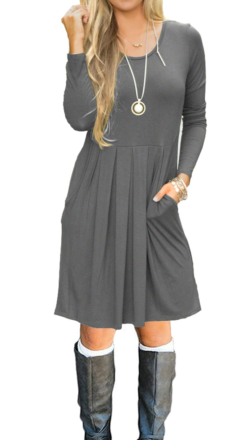 AUSELILY Women's Long Sleeve Pleated Loose Swing Casual Dress with Pockets Knee Length (L, Gray)
