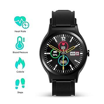 Smartwatch Hombre Mujer Reloj Inteligente Deportivo Tracker de Actividad TP Full Pantalla táctil IP67 con Monitor de Ritmo Cardíaco/Sueño/ Podómetro ...