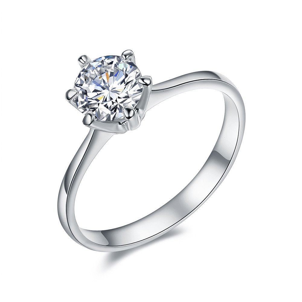 Serend 18k White Gold Plated 1 Carat Round Cubic Zirconia Solitaire Wedding Engagement Ring, Size 3 to 9 hongliang FFRHLG033