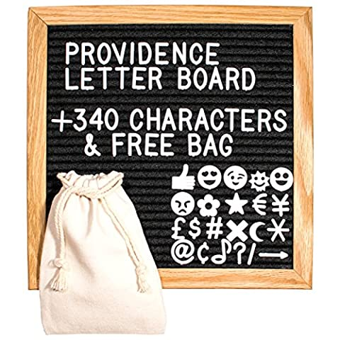 Premium 10 x 10 Inch Oak Frame Changeable Black Felt Letter Board + 340 White Characters & Bag - Message Board Letter