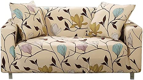 1 Piece Stretch Loveseat Slipcovers for Couches and Loveseats Loveseat,Beige Flowers UMETE Printed Sofa Cover Couch Cover Furniture Protector for Living Room with 2 Pillow Cases