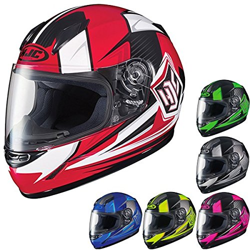 HJC CL-Y Striker MC-5 Youth Motorcycle Riding Helmet (Silver/Black, Medium) (Helmet Black Motorcycle Mc5)