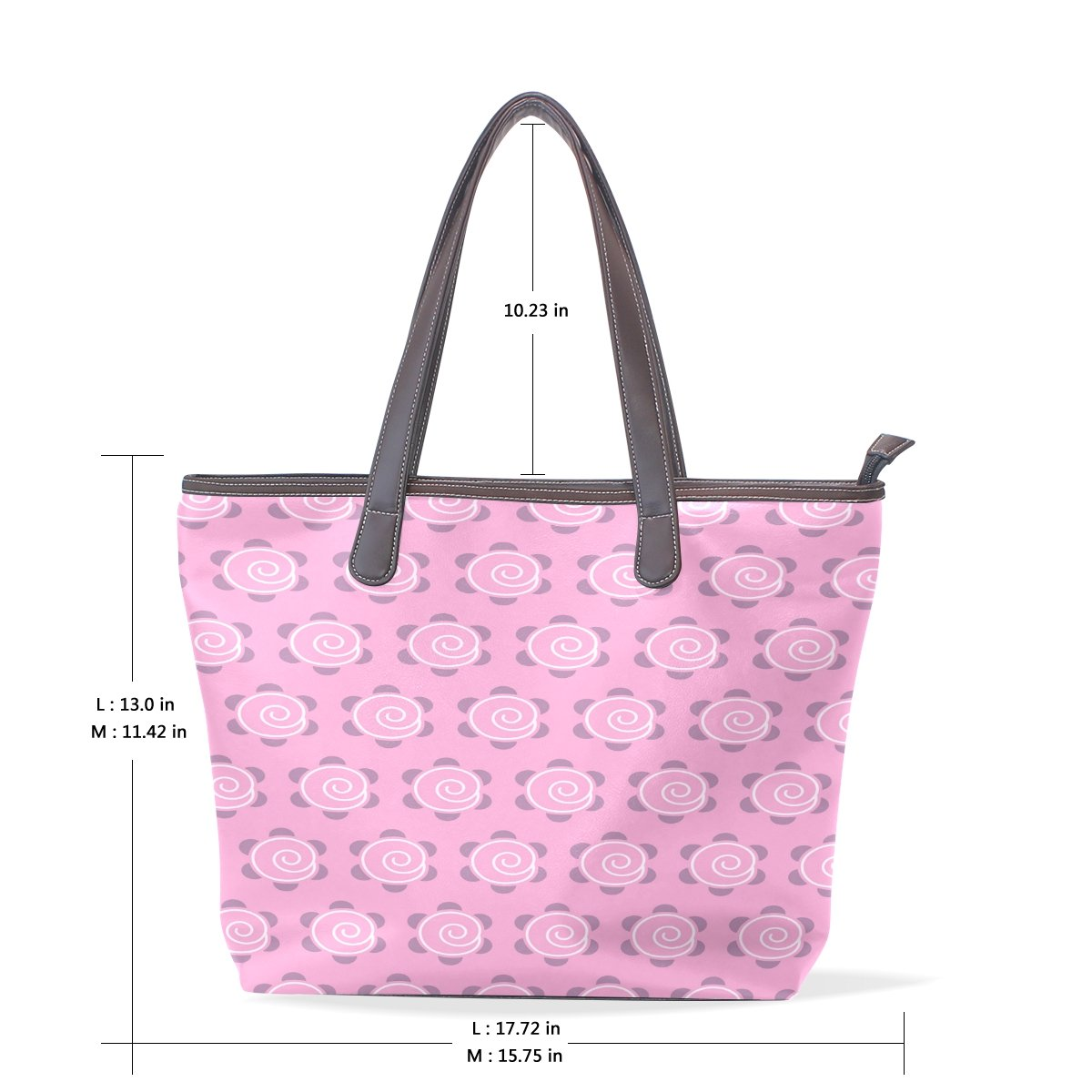 Ye Store Cute Pink Plum Blossom Cloud Lady PU Leather Handbag Tote Bag Shoulder Bag Shopping Bag