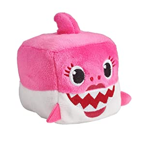 QTIVY Baby Shark Singing Plush Toy Cute Singing Baby Shark Song Cube Stuffed Animal Doll Great Gift for Baby & Toddler (Pink)