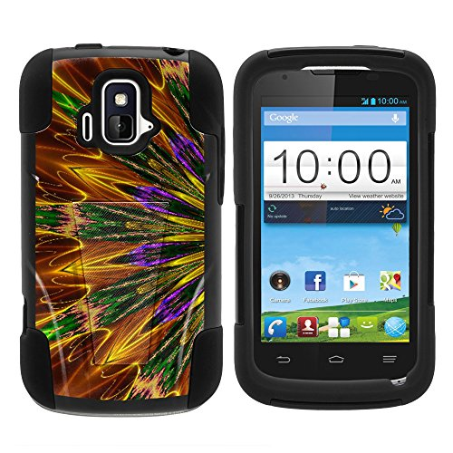 ZTE Sonata Case, Durable Hybrid STRIKE Impact Kickstand Case with Art Pattern Designs for ZTE Sonata Z740G, ZTE Radiant Z740 (AIO Wireless, AT&T) from MINITURTLE | Includes Clear Screen Protector and Stylus Pen - Kaleidoscopic Phoenix
