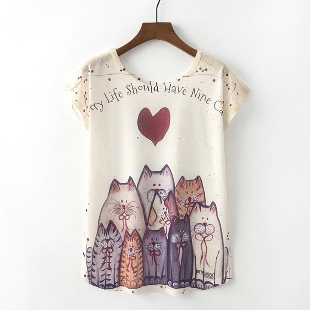 75107aa98 QinMM Camiseta Tops Estampada para Mascotas de Mujer, Camisa de Verano de  Gato de Perro de Manga Corta
