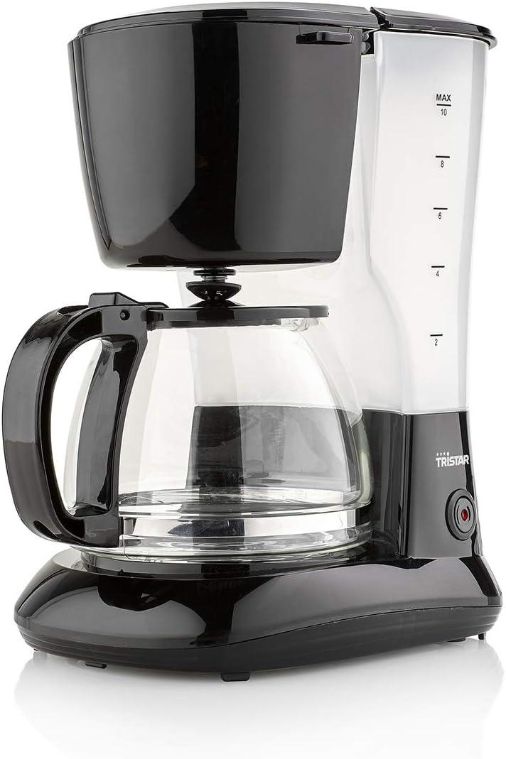 Tristar CM-1245 Cafetera adecuada para 10-12 tazas con jarra de cristal de 1,25 L, 750 W, 1.25 litros, Plástico, Negro