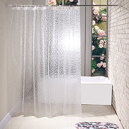 EVA Shower Curtain Liner Mildew Resistant, Ufriday Waterproof Bathroom Curtain with Metal Grommets and Magnetic Weights, Semi-Transparent, 54 inches x 78 inches (Curtain Transparent Plastic)