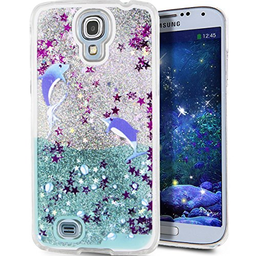 Samsung Galaxy S4 Case ,LEECO Hard Cover with Classic Quicksand Star Liquid Protective Case for Samsung Galaxy S4 Two penguin