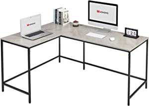 WOHOMO Computer Corner Desk L Shaped Desk Large Desktop Home Office Desk Modern Simple Study Writing Table Easy Assembly, Gray Marble