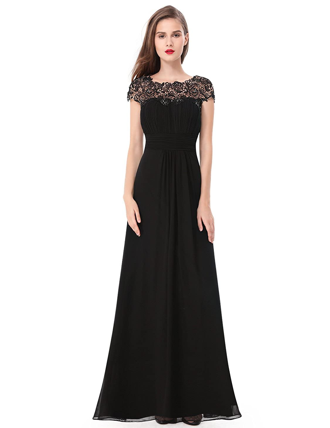b29954b3190a Ever-Pretty Womens Cap Sleeve Lace Neckline Ruched Bust Evening Gown 09993  at Amazon Women's Clothing store: