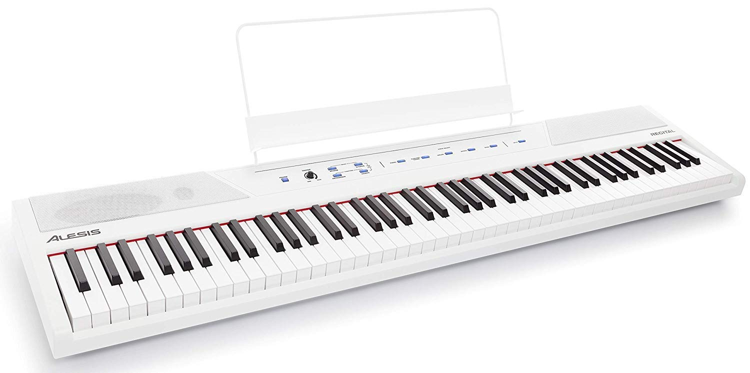 Alesis Recital White | 88-Key Digital Piano / Electronic Keyboard with Full-Size Semi-Weighted Keys, Power Supply, Built-In Speakers and 5 Premium Voices by Alesis (Image #1)