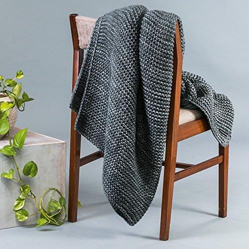 Bernard Luxurious Garter Knit Charcoal Grey Chunky Wool and Acrylic Throw Rug Blanket 180x130cm