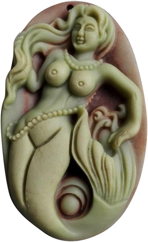Natural morado Robe Jade colgante sirena colgante Gemstone Vintage collar