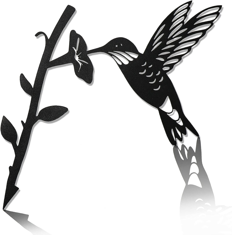Steel Hummingbird Metal Bird Decoration, Metal Birds Yard Decor Hummingbird Silhouette Garden Decor, Tree Art for Patio Outdoor Decorations