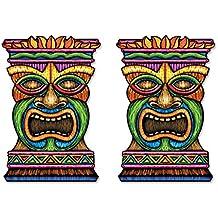 Beistle S54553AZ2 2 Piece Jumbo Tiki Cutouts, 3', Multicolored