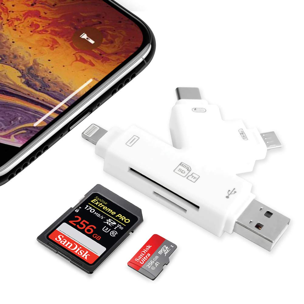Memory SD Card Reader 4 in 1 Game Camera Card Viewer-Trail Hunter View Hunting Photos and Videos or for Trail Camera Viewer on Smartphone for iPad Mac&Android,SD & Micro SD(White) by E-thinker