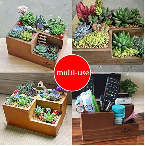 Chris-Wang Multifunctional 3-Compartment Wooden Desktop Office Supply Caddy/Pencil Holder/Desk Mail Organizer/Succulent Plants Planter(Classic Brown) by Chris.W (Image #5)
