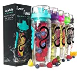 Live Infinitely 32 oz. Infuser Water Bottles - Featuring a Full Length Infusion Rod, Flip Top Lid, Dual Hand Grips & Recipe Ebook Gift (Teal, 32 oz)