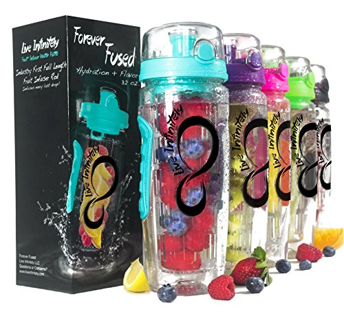 Live Infinitely 32 oz. Infuser Water Bottles - Featuring a Full Length Infusion Rod, Flip Top Lid, Dual Hand Grips & Recipe Ebook Gift (Bright Teal, 32 oz) (Gift Basket Ideas Under $10)