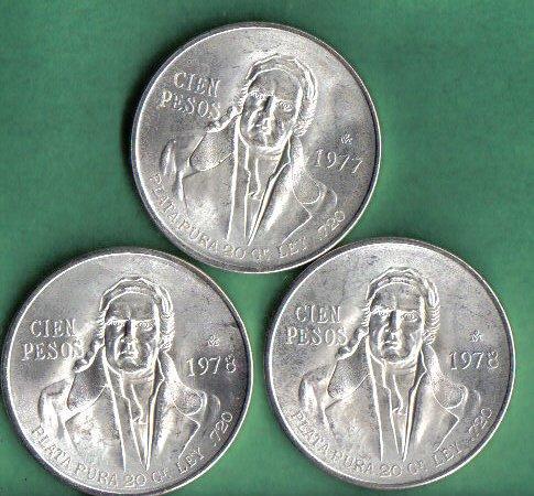 Set of 3 100 Pesos Mexican Silver Coins (Silver Mexican Coin Set)