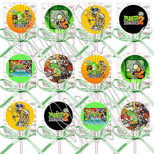 Plants vs Zombies 2 Lollipops Video Game Party Favors Supplies Decorations Lollipops with Mint Green Ribbon Bows Party Favors -12 pcs]()