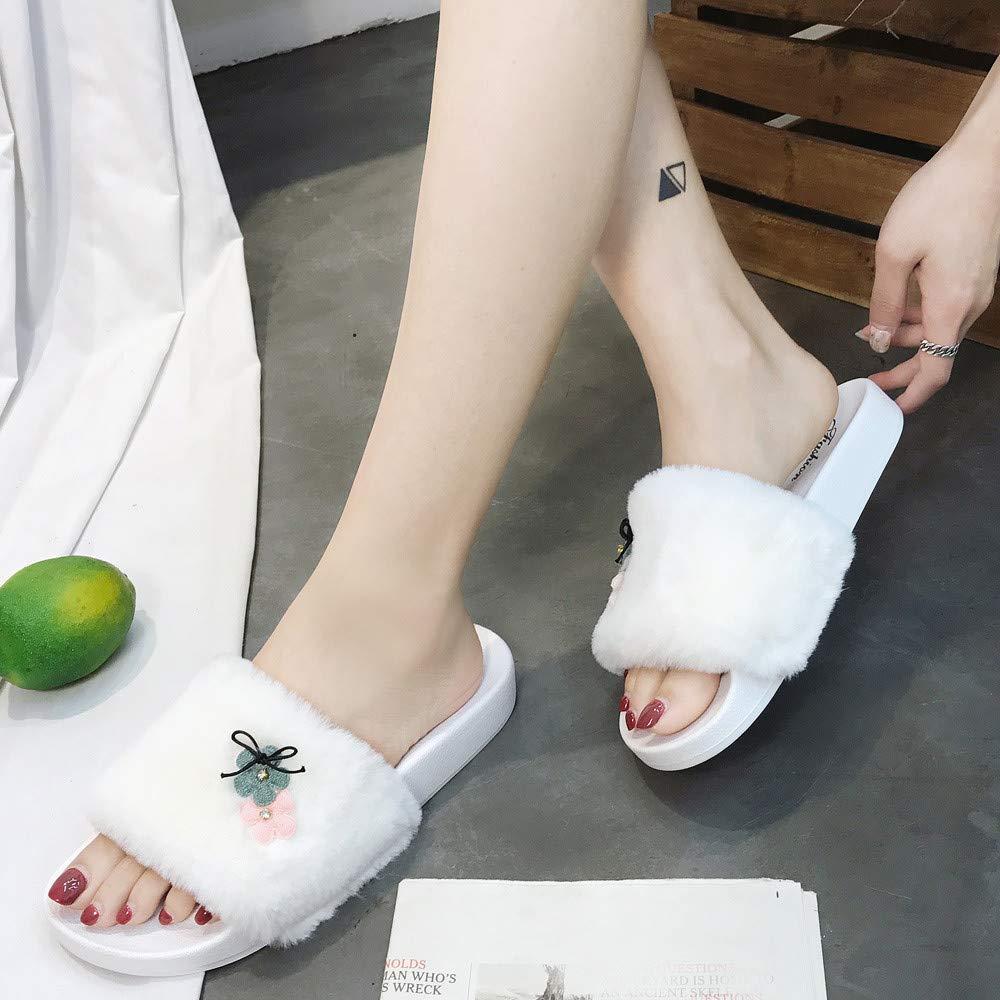 Slippers For Women, Clearance Sale !! Farjing Slip On Sliders Fluffy Faux Fur Flat Slippers Flip Flop Sandals(US:7,White1) by Farjing (Image #3)
