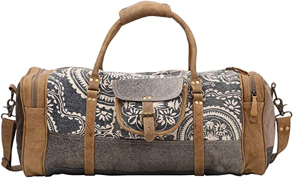 Amazon Com Myra Bag Stone Grey Upcycled Canvas Cowhide Travel Duffel Bag S 1442 This product belongs to home , and you can find similar products at all categories , luggage & bags , luggage & travel bags , travel bags. myra bag stone grey upcycled canvas cowhide travel duffel bag s 1442