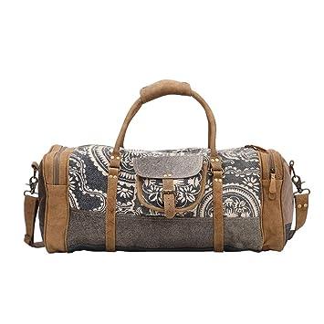 d3176bb3fc1a Amazon.com | Myra Bag Stone Grey Upcycled Canvas & Cowhide Travel ...