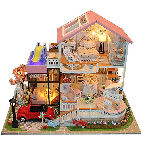 Flever Dollhouse Miniature DIY House Kit Creative Room with Furniture for Romantic Valentine's Gift(Sweet Words)