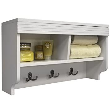 CHUBBY   Wall Mounted Storage Cubby With Coat Hooks   White