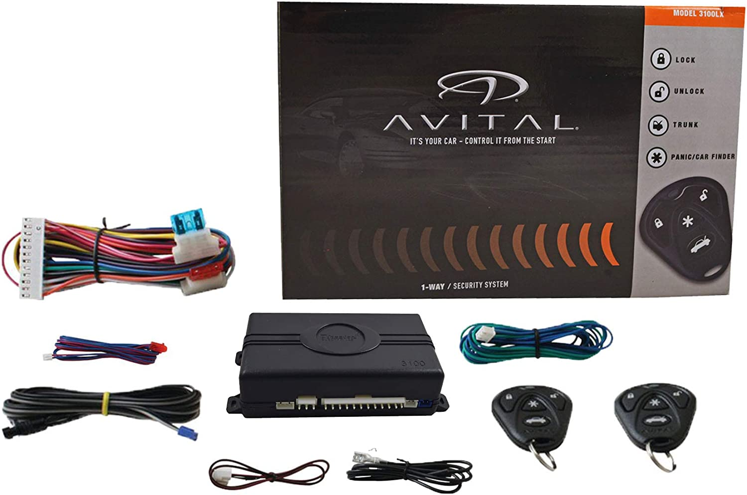 AVITAL 3100LX 3 CHANNEL CAR ALARM SYSTEM W// 2 REMOTES AND KEYLESS ENTRY