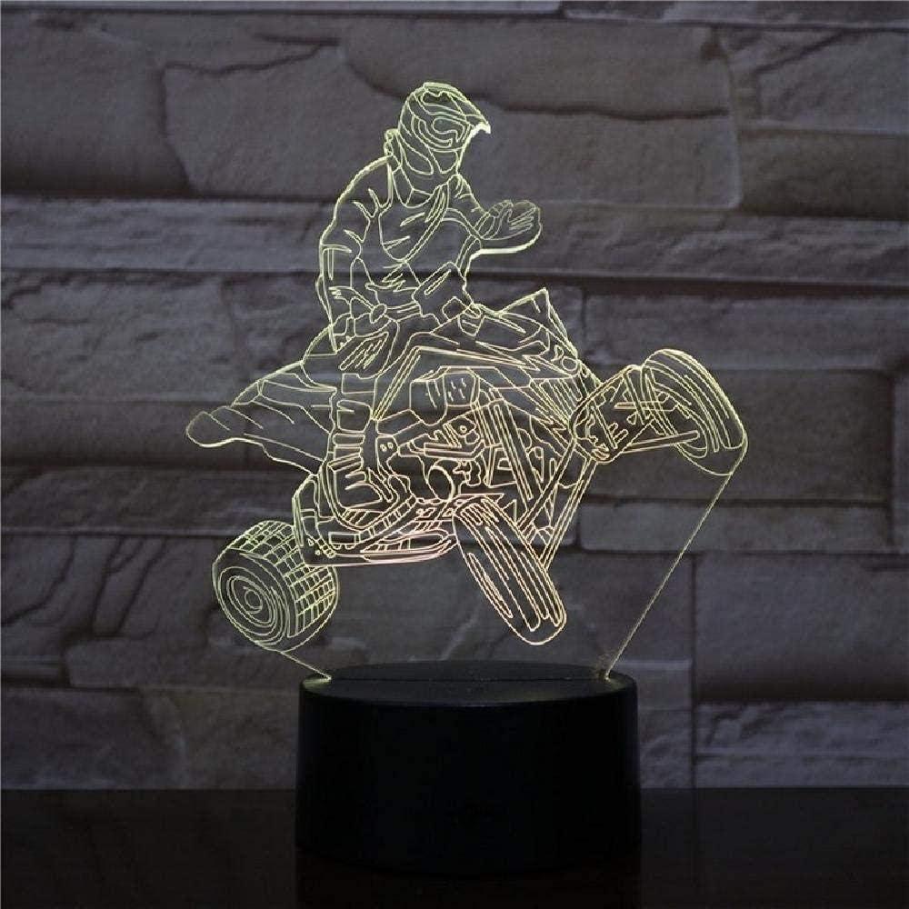 LSDAMN Ilusión óptica 3D Luz nocturna Motociclista Rac de cuatro ruedas Luz nocturna de 7 colores para niños Niños y niñas como regalos perfectos en cumpleaños o días festivos