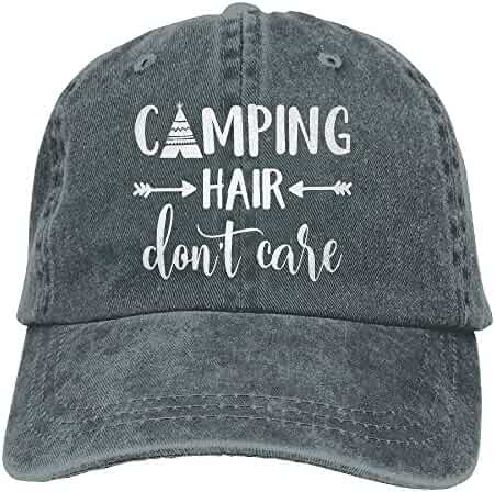 9db67bb4bdf HHNLB Unisex Camping Hair Don t Care 1 Vintage Jeans Baseball Cap Classic  Cotton Dad Hat