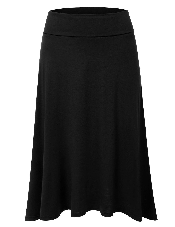 DRESSIS Women's Basic Elastic Waist Band Flared Midi Skirt BLACK L