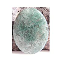 Moss Agate Cabochon Oval Shape, 61Ct Natural Green Moss Agate Gemstone 40x30x6mm, K-4468