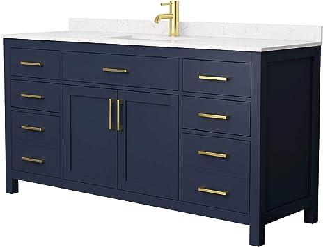Beckett 66 Inch Single Bathroom Vanity In Dark Blue Carrara Cultured Marble Countertop Undermount Square Sink No Mirror Amazon Com