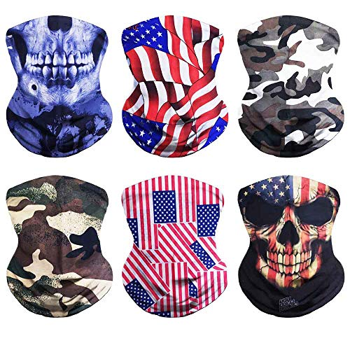 VCZUIUC Camo Headband Neck Gaiter Camouflage Headwear Flag Scarf Seamless Bandana Sports Face Mask, Hiking Motorcycle Skiing Running(6 Skull-3)
