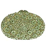 Digabi Luxury Colorful Flowers Pattern Oval shape women Crystal Evening Clutch Bags (One Size : 7.5 x 5 x 2.5 IN, Green)