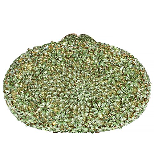 Digabi Luxury Colorful Flowers Pattern Oval shape women Crystal Evening Clutch Bags (One Size : 7.5 x 5 x 2.5 IN, Green) by Digabi
